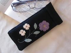 Black Wool Embroidered Eyeglass Case (LookHappyShop) Tags: flower wool sunglasses mom glasses women mother felt case gift eyeglasses sleeve accessory