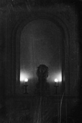 stately home (friendlydrag0n) Tags: light white black texture film monochrome stone night vintage dark mono evening carved candle darkness niche lion illumination faux aged scratched distress available