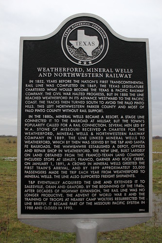 Weatherford, Mineral Wells, and Northwestern Railway, Mineral Wells, Texas Historical Marker