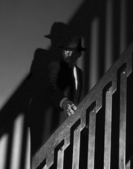 Stranger on the Staircase [Get Pushed Round 19] (ruthlesscrab) Tags: getpushed noir filmnoir fedora stairs lowkey shadows fred fdawkins trubbleca