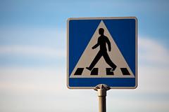 Pedestrian crossing (Mabry Campbell) Tags: blue color sign photography march photo skne europe crossing sweden streetsign photograph 100 sverige scandinavia malm f28 malmo 2012 pedestrianbridge pedestriancrossing bluesign 200mm skane ef200mmf28liiusm canonef200mmf28liiusm sec mabrycampbell march32012 201203034332