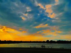 Lakeside Summer Sunset (LostMyHeadache: Absolutely Free *) Tags: sunset summer sky lake nature water silhouette kids clouds evening twilight nikon warm peace atmosphere davidsmith calgaryalbertacanada