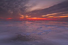 sunset over frozen sea (traHh (Boyan Nedkov)) Tags: winter sunset sea netherlands frozen zonsondergang nederland flevoland lelystad 2012 frozensea trahh boyannedkov markerzee