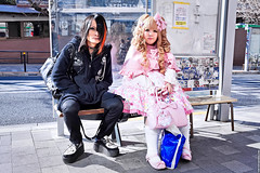 Mad Punks x Angelic Pretty in Harajuku (tokyofashion) Tags: street pink fashion bench sticker gothic stickers style lolita bow harajuku creepers hairstyle handbag 2012 platformshoes sweetlolita angelicpretty harajukustation madpunks