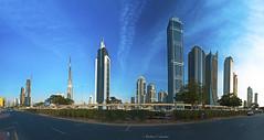 Dubai Panoramic View (A. Shamandour) Tags: city sea panorama reflection building tower architecture night photo dubai shoot gulf view shot uae architectural photograph arab syria damascus purble abdulhameedshamandour