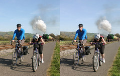 3D Bitton train cyclists (3D shoot) Tags: england bicycle train stereoscopic stereophoto stereophotography 3d bath loco somerset steam stereo cycle locomotive parallel cyclepath bitton stereoscope cycleway 3dshoot
