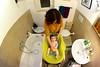 6/365(+1) - EXPLORED - Feb 17, 2012 #378 (Luca Rossini) Tags: portrait baby home bathroom bath sony mother fisheye 365 16mm f28 converter nex7 3651daysofnex7
