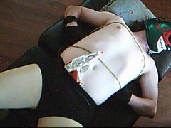 Lazer Gun Overload Trap! (hawkman13) Tags: bondage tights fantasy bellybutton pantyhose spandex roleplay mexicanwrestler outie damselindistress superheroperil superheroinperil