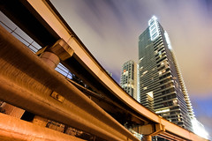 TOWARDS THE LIGHT (Rober1000x) Tags: sky night clouds lights downtown florida miami towers metrorail bicentennialpark