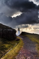 Rua Reidh Lighthouse - A blink of light - (explored) (Michael~Ashley) Tags: sunset lighthouse west clouds photography coast scotland highlands nikon scottish rua minch gairloch reidh d3100