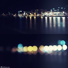Tiny Eyes/Giant Eyes (Rick Nunn) Tags: longexposure water night lights focus diptych bokeh rick lincoln nunn doublepic