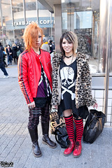 Red Jacket & Striped Socks, Shibuya (tokyofashion) Tags: guy girl fashion japan hair japanese skull tokyo boots shibuya style leopardprint hairstyle leatherjacket 2012 streetfashion stripedsocks