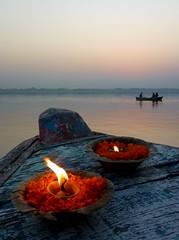 sunrise (tea-daze) Tags: city light sunset woman sun india white black colour reflection birds sunrise river temple