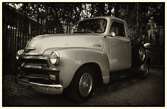 Old Truck (Thomas E. Sandoval) Tags: bw santafe chevrolet hub truck cool nikon caps pickup 1954 f100 cadillac nm caddy 505 3100