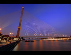 Blue Hour at Rama VIII Bridge | Bangkok (I Prahin | www.southeastasia-images.com) Tags: bridge urban night reflections river thailand lights raw suspension bangkok explore chaophrayariver thonburi explored rama8bridge singlepylon anandamahidol