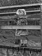 Looking Out. (CWhatPhotos) Tags: pictures bridge portrait white black macro girl canon fence out that lens eos prime photo wooden model foto child looking with image photos picture posing images have fotos 7d 28 usm 60mm which modelling f28 span contain cwhatphotos