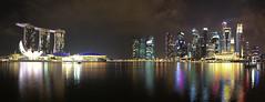 Marina Bay Panorama (maxunterwegs) Tags: panorama skyline night noche singapore cityscape stitch nacht noite singapour nuit stitched singapur singapura mbs marinabay marinabaysands microsoftice