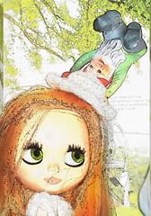 Blythe A Day ~ MAY ~  #2 ~ GNOMES (Heidi @ Blythe Fifth Avenue) Tags: sketch gnome doll peach blythe prudence mrb brm mademoisellerosebud gnomehat blytherescuemission