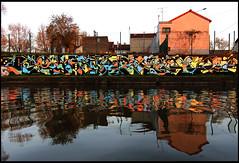 Lek + Outside (Chrixcel) Tags: outside graffiti outsider tag reflet graff reflexion lek fresque canl