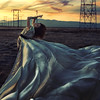 crescent moon (brookeshaden) Tags: sunset field powerlines fineartphotography brookeshaden billowingdress