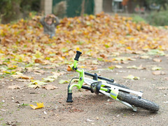 Bike on the ground and child playing with dead leaves in the background (Carlos Ciudad - Stock Photography) Tags: park parque autumn españa house playing game fall colors leaves bike bicycle yard dead hojas outside 50mm casa kid spain europa europe child play 5 happiness dry ground bicicleta olympus colores patio leon bici jugar otoño years felicidad niño zuiko tirada gettyimages suelo años secas muertas castillayleon e520 lacandamia castilleandleon cctrillastock
