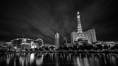 Early Morning Light (Hieroglyphics...) Tags: longexposure bw clouds sunrise canon blackwhite lasvegas eiffeltower neutral lasvegasstrip movingclouds earlymorninglight canonshot canonphotography