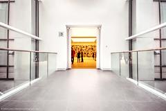Saatchi Gallery No 3 (Edwinjones) Tags: england urban london art museum architecture photoshop europe unitedkingdom perspective rail symmetry walkway saturation gb highkey elevated topaz handrails saatchigallery kingsroad