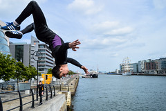 Urban Diving (michelevico) Tags: travel ireland boy urban dublin strange river jump dive liffey surprise fearless infly takethemoment