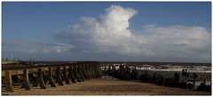 Cloud spray (Stephen Braund) Tags: sea panorama beach clouds suffolk wideangle groyne