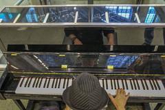 Enjoy this piano, it's a gift. Love Elton John (Geraldine Curtis) Tags: music hat signature piano eltonjohn stpancras