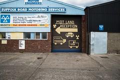 MOT Land (Number Johnny 5) Tags: door windows urban sign wall nikon industrial garage great norfolk d750 yarmouth tamron gorleston southtown 2470mm