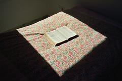 la parole est (michel nguie) Tags: michelnguie film analog book theholybible sunlight lightoftheworld shadow pages bed bedroom square roubaix rbx flowers duvet