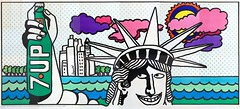 "1969 21'x10' 7Up UnCola ""Lady Liberty"" vintage billboard poster by Pat Dypold #7Upvintage #LadyLiberty (btreat) Tags: nyc newyorkcity 1969 skyline illustration skyscraper vintage poster bottle 60s retro billboard 1960s statueofliberty 7up ladyliberty uncola onebottle 7upbillboard uncolabillboard dypold patdypold vintagebillboardposter 7upvintage"