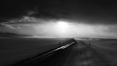 voyage into the great white open (lunaryuna) Tags: voyage road travel sunset bw snow monochrome weather landscape blackwhite iceland solitude mood wind journey lunaryuna vastness intothegreatwhiteopen atmosphericlandscape lightmood intothehighlands andthiswasspring