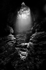 Feeling Alone (Emanuel Dragoi Photography) Tags: cave alabama bw stephens gap waterfall