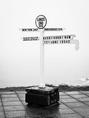 Land's End (goodbyetrouble) Tags: uk england bw monochrome sign point cornwall schild most landsend western end signpost lands mainland sennen westernmost westlich