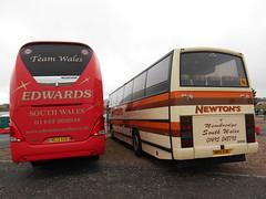 Edwards Coaches ML13 XOB and Newton's H155 DJU (welsh bus 16) Tags: volvo barry starliner paramount newtons 3500 neoplan plaxton b10m scotlandandbates edwardscoaches ml13xob h155dju