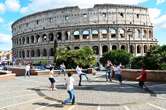 Kids (Smith-Bob) Tags: candid street people kids football soccer ball play kickabout colosseum roman gladiator battle fight bloody violent rome roma italy europe icon stadium