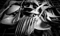 Dusty Cutlery (si_glogiewicz) Tags: old white black dusty vintage mono silverware knife fork dining dust cutlery