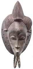Mask - M-BA-4 (Kachile) Tags: art mask african tribal ctedivoire primitive ivorycoast gouro baoul nativebaoulmasksaremainlyanthropomorphicmeaningtheydepicthumanfacestypicallytheyarenarrowandfemininelookingincomparisontomasksofotherethnicitiesoftenfeaturenohairatallbaoulfacemasksaremostlyadornedwithvarioustrad