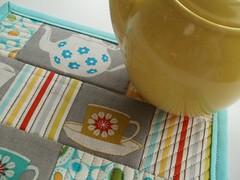TeaMugRugMM13 (eamylove) Tags: tea linen retro placemat quilted teapot teacup pyrex dena michaelmiller freespirit mugrug turquoiseandyellow melodymiller