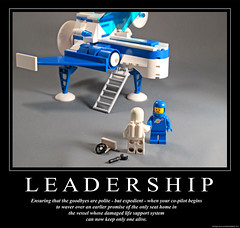 L E A D E R S H I P (halfbeak) Tags: blue white dark poster lego irony minifig leadership demotivation moc selfpreservation classicspace