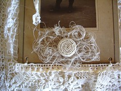 """Beth's page for """"Her Life in Stitches"""" (skblanks) Tags: robin cabinet antique crochet silk card round button stitching rosette laces threads"""