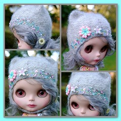 The Folklore Kitty Helmet: Pastel Delight (Euro_Trash) Tags: pink blue grey aqua embroidery pastel folklore blythe eurotrash kittyhelmet