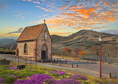 Chapel (Jean-Michel Priaux) Tags: road sky france art colors architecture cat photoshop painting way landscape nikon village postcard religion chapel alsace paysage rue chapelle hdr vosges cartepostale pitoresque d90 routeduvin priaux mygearandme ringexcellence flickrstruereflection1 ammerschwhir