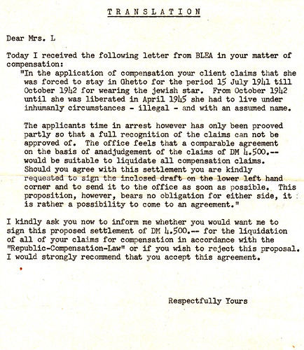 19781201 - Grandma's WWII Reparation Claims - annoying response letter - public version