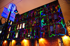 2012 Illuminate Yaletown - Lighting Art on the Wall (TOTORORO.RORO) Tags: show street light canada color reflection brick art wall night vancouver lens mirror bc view britishcolumbia sony performance led yaletown translucent alpha f28 slt ssm greatervancouver a55 1650mm illuminateyaletown sal1650