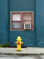 Window, Air Conditioner And Fire Plug (J Wells S) Tags: windows ohio urban streetscene firehydrant norwood fireplug urbanstreetscene urbanscene