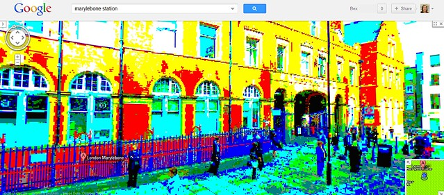 Street View image of MaryLOLbone Station in 8-bit colour