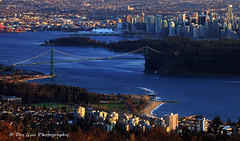 Lions Gate Bridge, Stalney Park and Downtown Vancouver BC (PhotoDG) Tags: park bridge building vancouver skyscraper landscape downtown cityscape bc seawall telephoto stanleypark cypress lionsgate ambleside westvancouver ef100400mmf4556lisusm eos5dmarkii